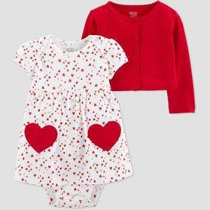 Carters NB Valentine Heart Dress & Cardigan